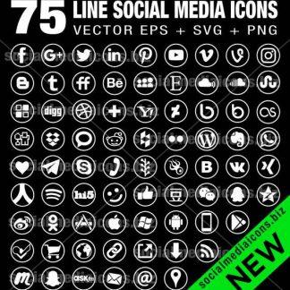 75 line white social media icons