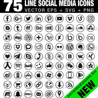 75 Line Round social media icons new