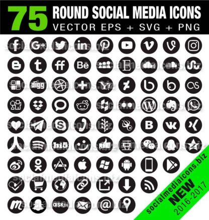 75 Round social media icons black