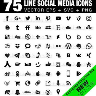75 simple black social media icons