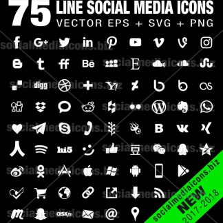 75 simple social media icons white