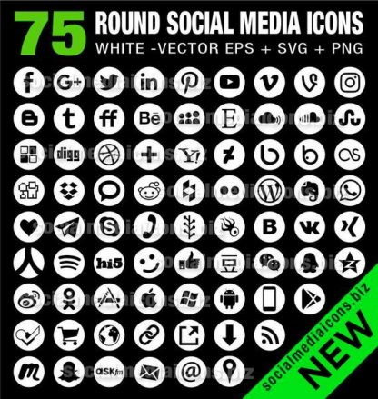 75 vector round social media icons white