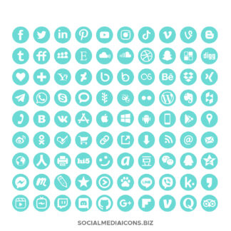 Hexachrome Mint Social Media Icon set