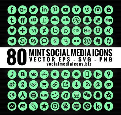 Hexachrome mint social media icons