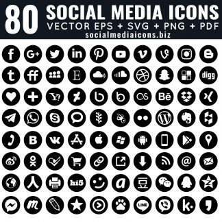 80 round social media icons black