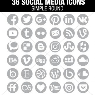 36 Light Grey Social Media Icons