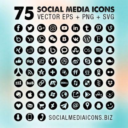 Round Social Media Icons Black
