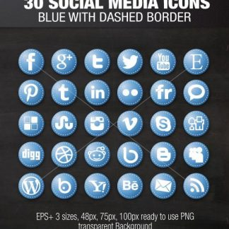 Blue Dashed Social Media Icons
