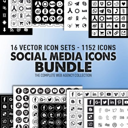 Vector Social Media Icons Bundle - 16 collection