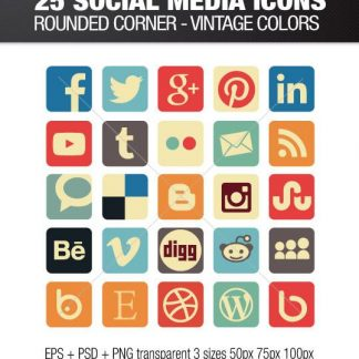 Vintage square social media icons with rounded corners