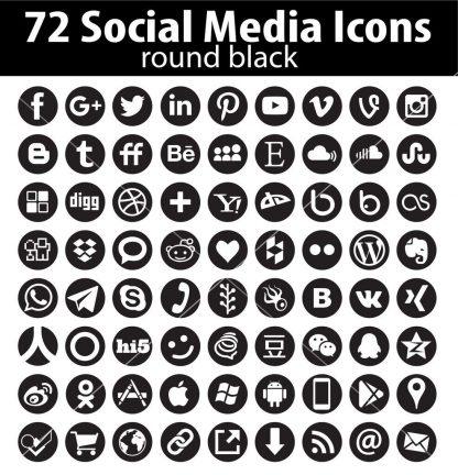 Vecor round social media icons