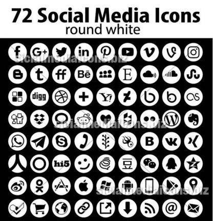 round white social media icons
