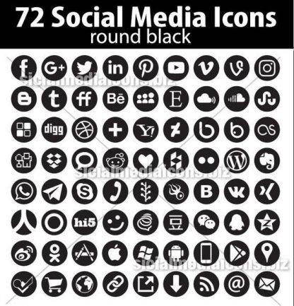 round black social media icons