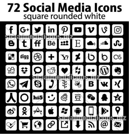 Square white social media icons