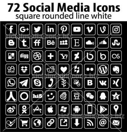 Square line white social media icons
