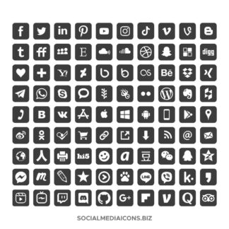 90 Dark Gray Rounded Square icons