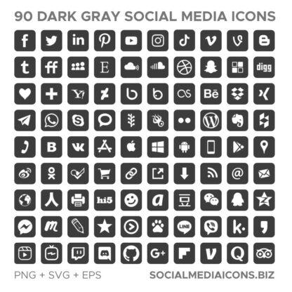 90 Dark Gray Square social media icons