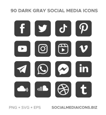 90 Dark Gray Square icon set