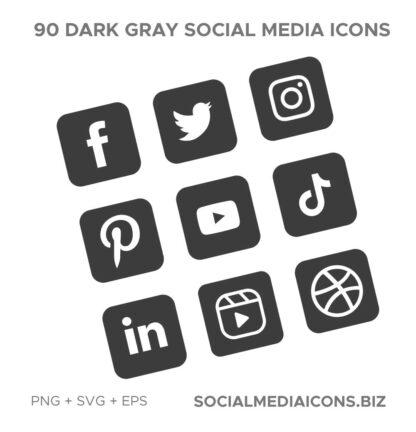 90 social media icons gray