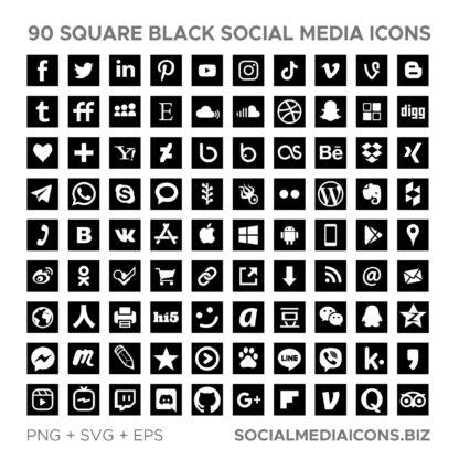 Square Black Socia Media Icons - instant download