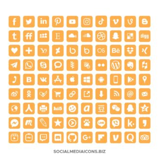90 Orange marigold social media icons