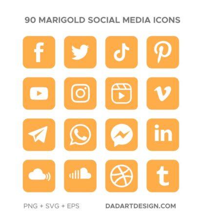 90 Orange marigold social media icons