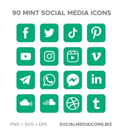 90 Mint rounded square Icons