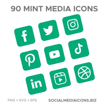 Mint rounded square Social Media Icons