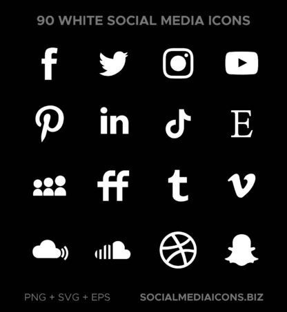 White Social Media Icons - The base Must have collection