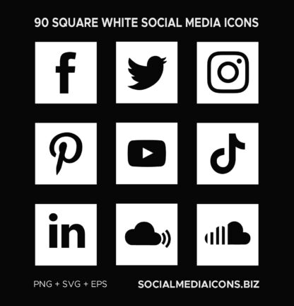 White Square Social Media Icons