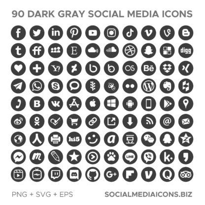 90 Dark Gray Social Media Icons