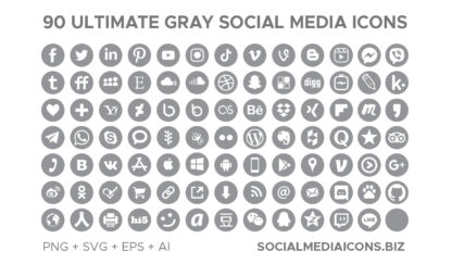 Ultimate Grey Social Media Icons